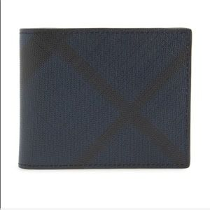 Burberry Black and Navy Check Wallet
